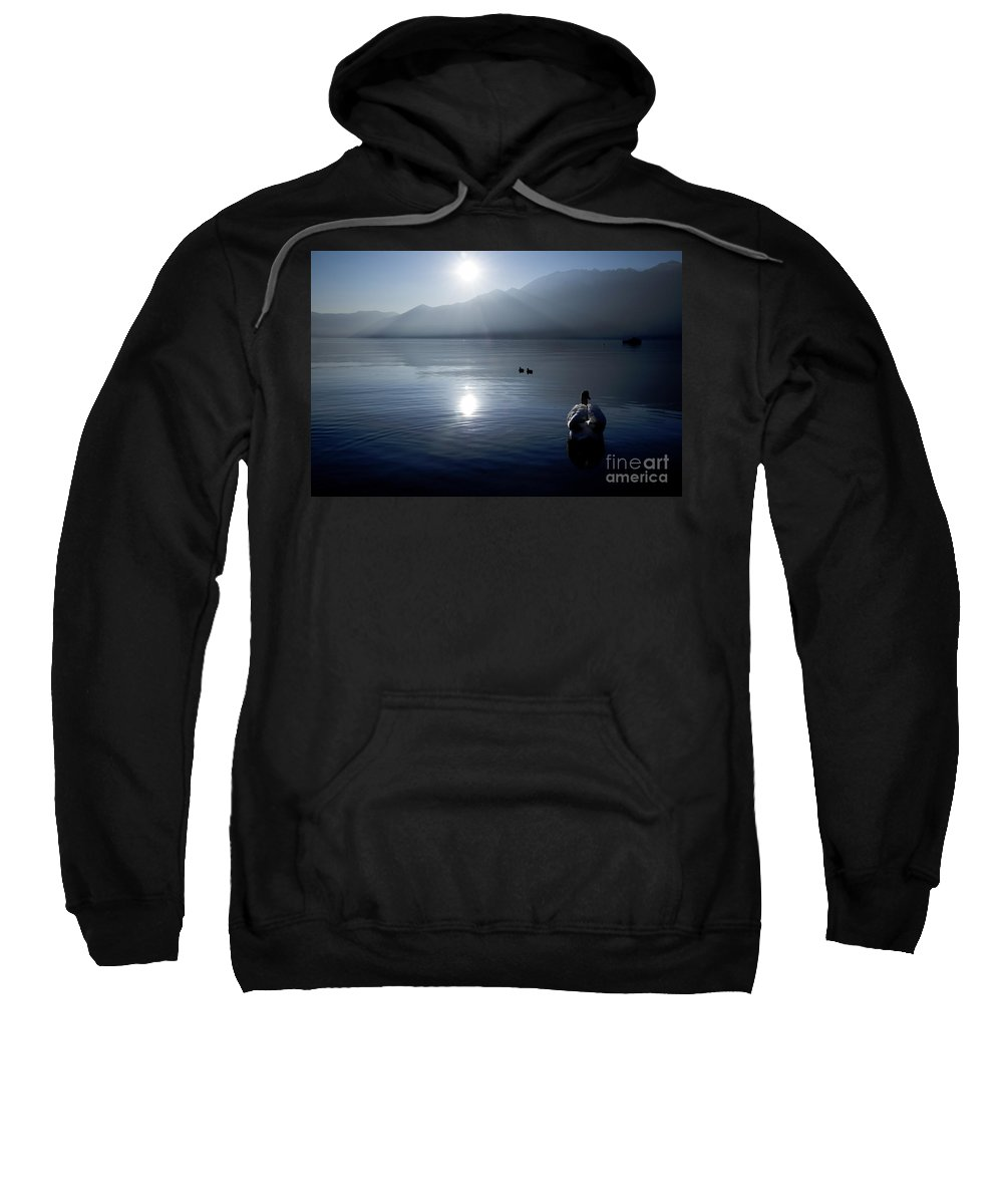 Swan Sweatshirt featuring the photograph Swan And Ducks by Mats Silvan