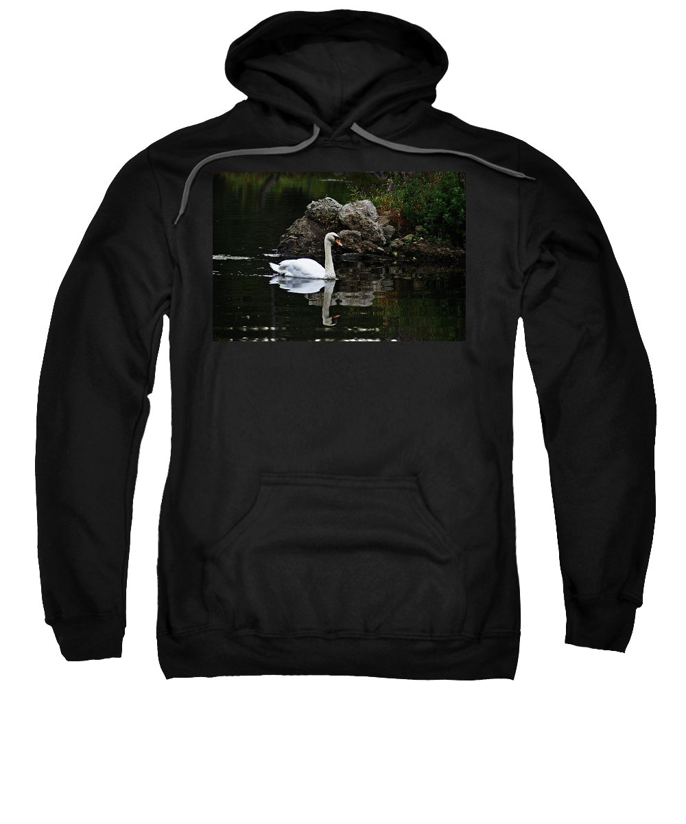 Horn Pond Sweatshirt featuring the photograph Swan I by Joe Faherty
