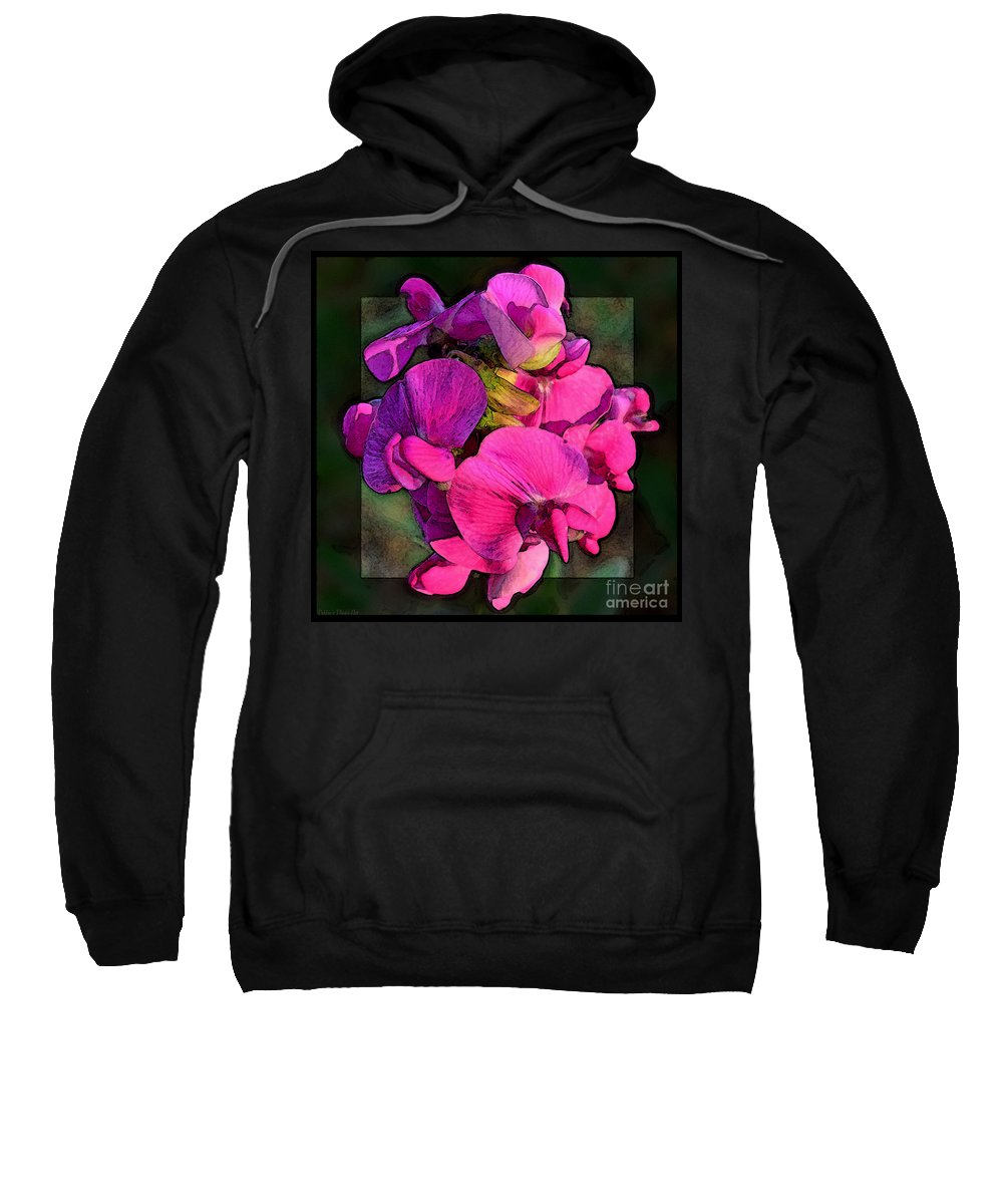 Nature Sweatshirt featuring the photograph Sweet Pea Pop Out Photoart Square by Debbie Portwood