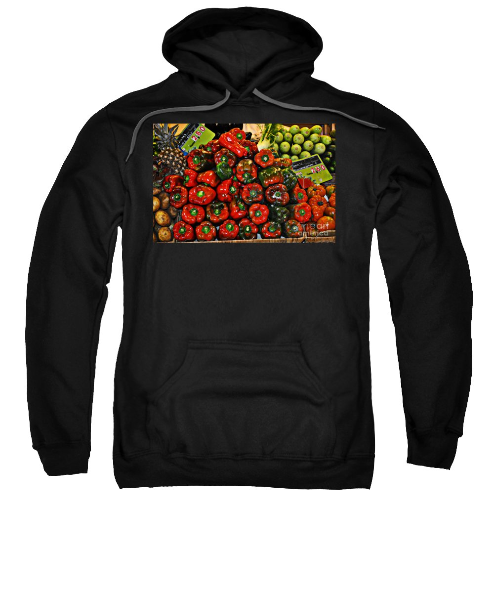 Sweet Red Peppers Sweatshirt featuring the photograph Sweet Red Peppers by Mary Machare