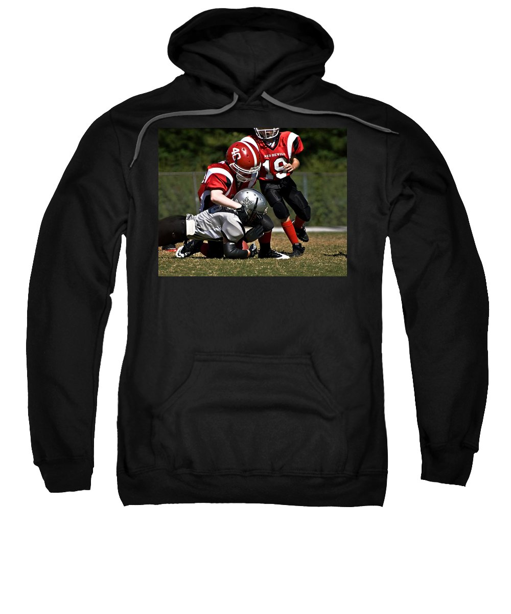 Young Sweatshirt featuring the photograph Tackle The Runner by Susan Leggett