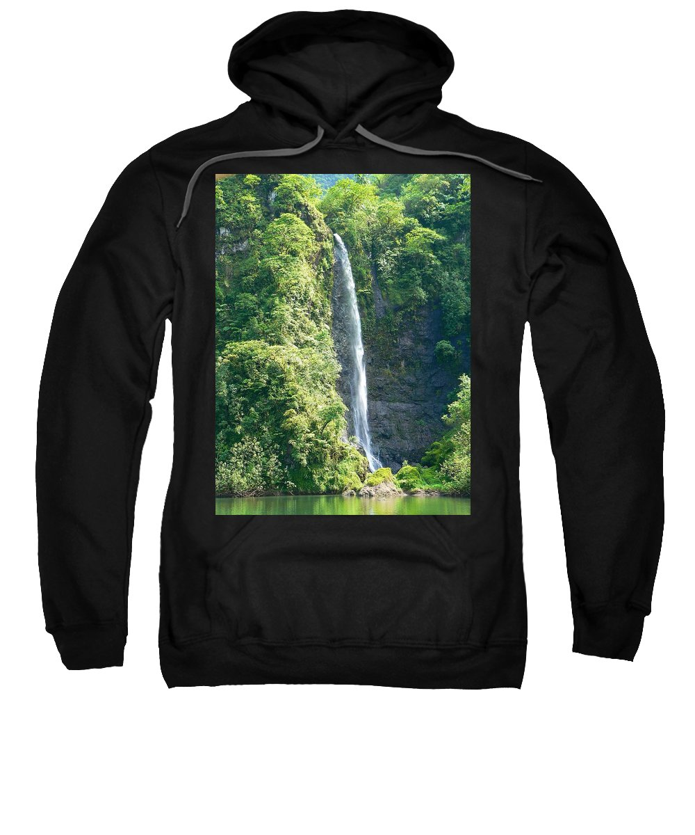 Tahiti Sweatshirt featuring the photograph Tahitian Waterfall by Eric Tressler