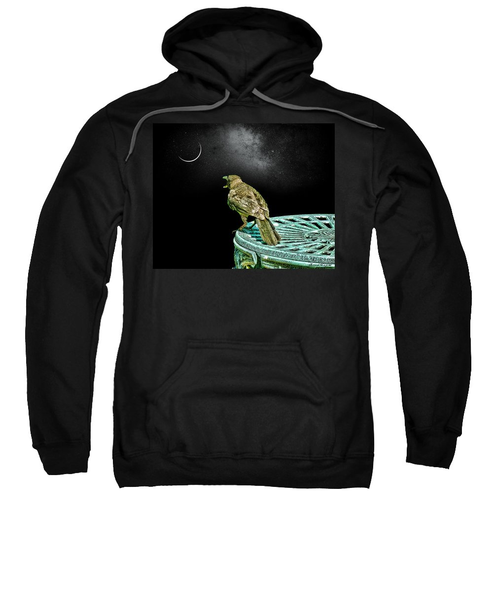 Night Sweatshirt featuring the photograph Talking To The Moon by Ericamaxine Price