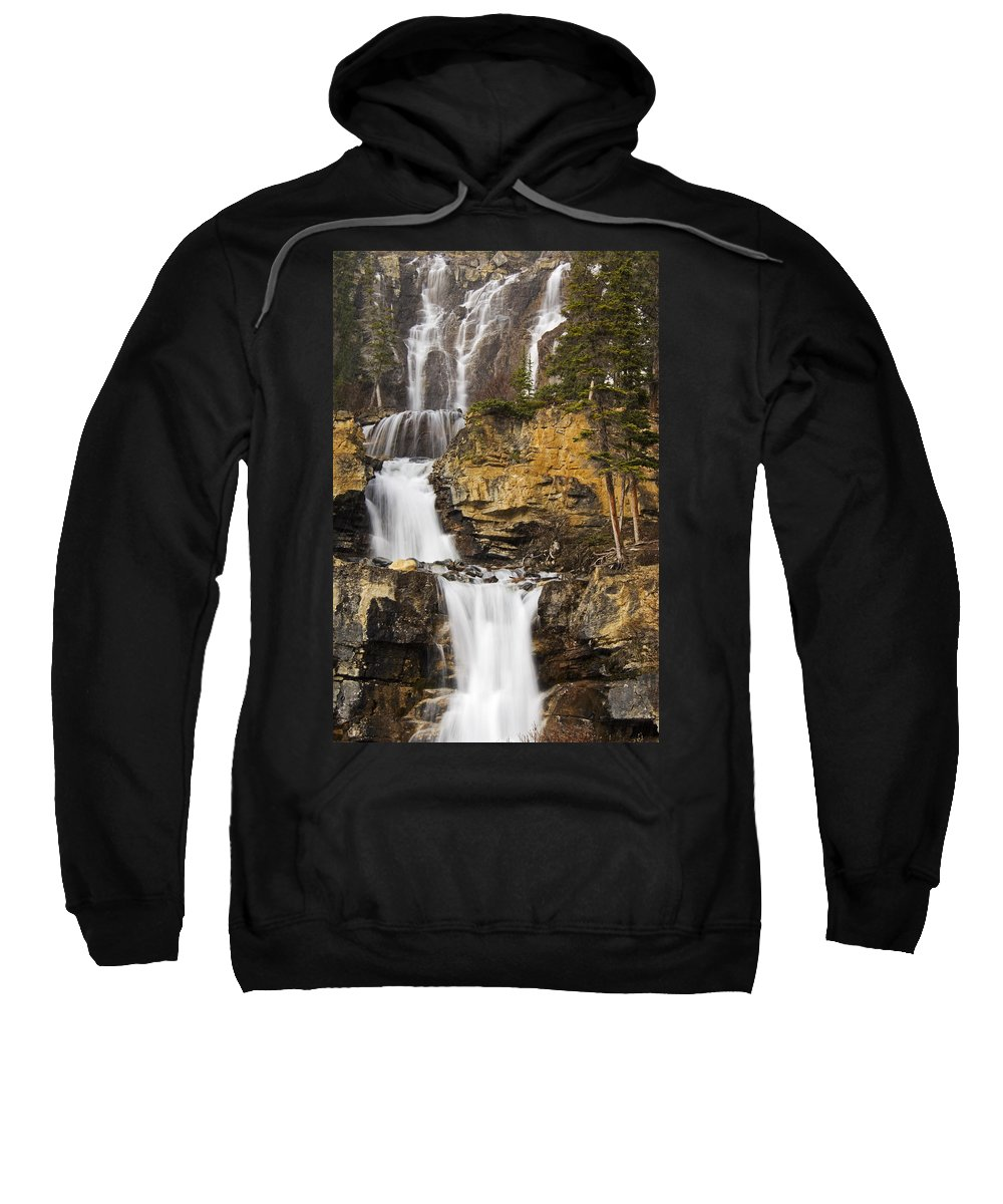 Blurred Sweatshirt featuring the photograph Tangle Falls, Jasper National Park by Mike Grandmailson
