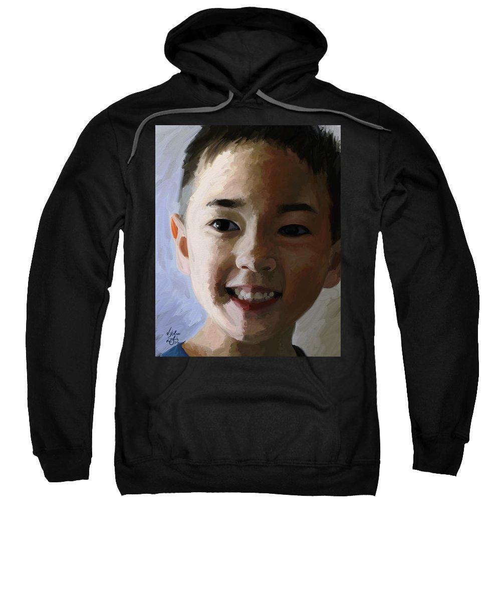 Portrait Sweatshirt featuring the digital art Taquito by Nik English