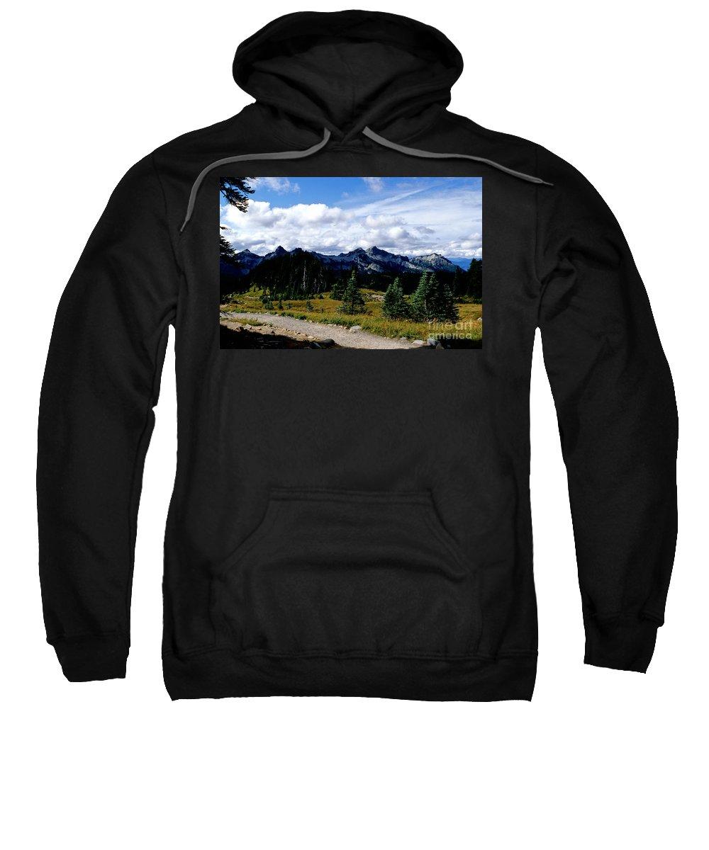 Tatoosh Mountains Sweatshirt featuring the photograph Tatoosh Range by Sharon Elliott