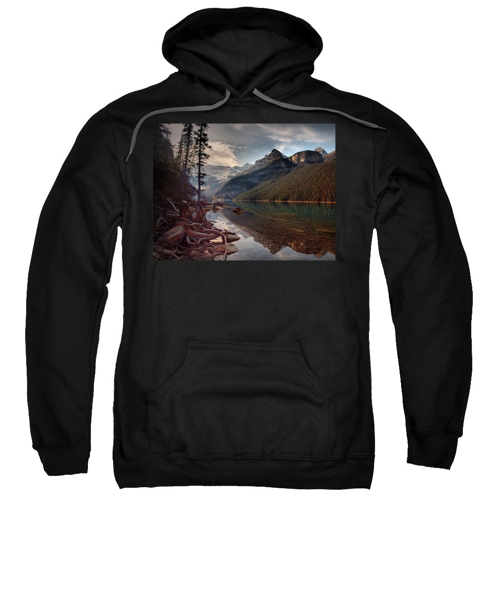 Mountains Sweatshirt featuring the photograph The Calm At Lake Louise by Tara Turner