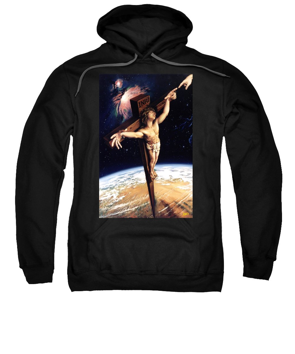 Cross Sweatshirt featuring the painting The Crossing by Patrick Anthony Pierson