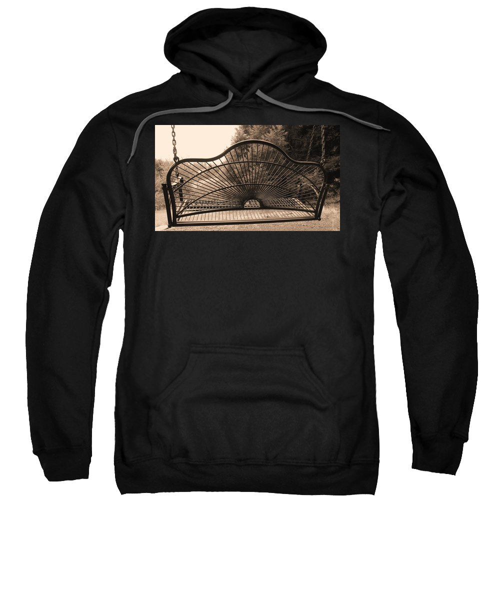 Swing Sweatshirt featuring the photograph The Garden Swing by Katie Wing Vigil
