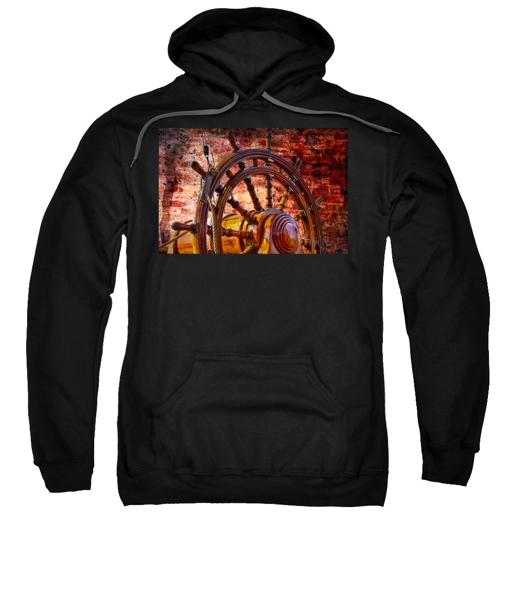Boats Sweatshirt featuring the photograph The Helm by Debra and Dave Vanderlaan
