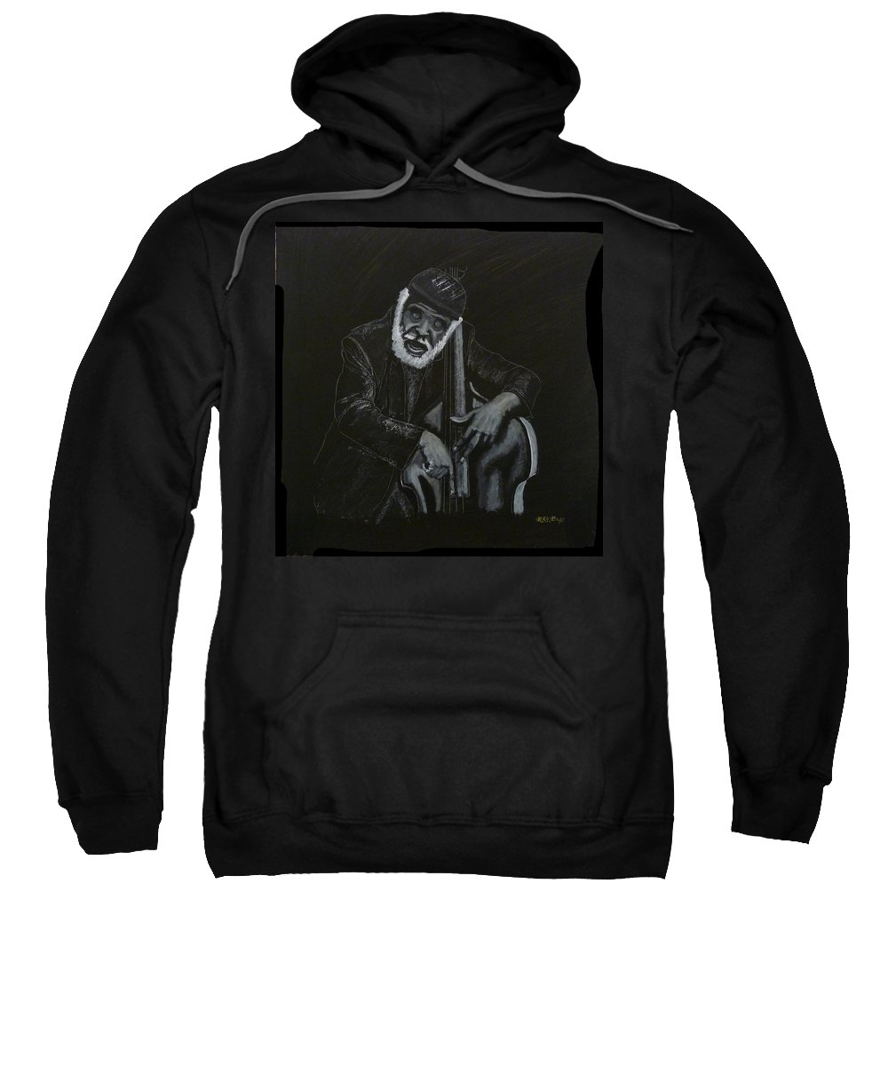 Bass Sweatshirt featuring the painting The Hummer Bass Player by Richard Le Page