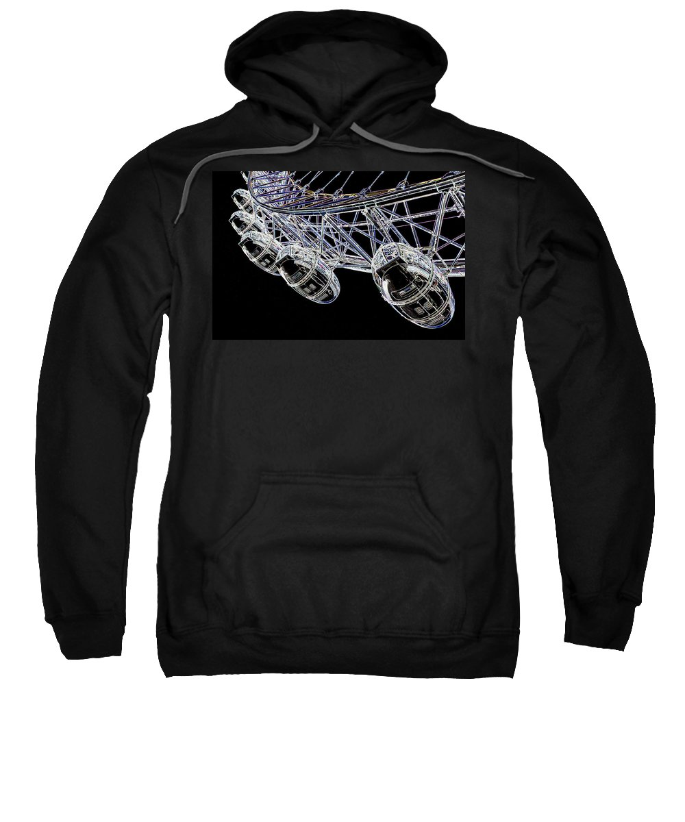 London Sweatshirt featuring the digital art The London Eye by David Pyatt