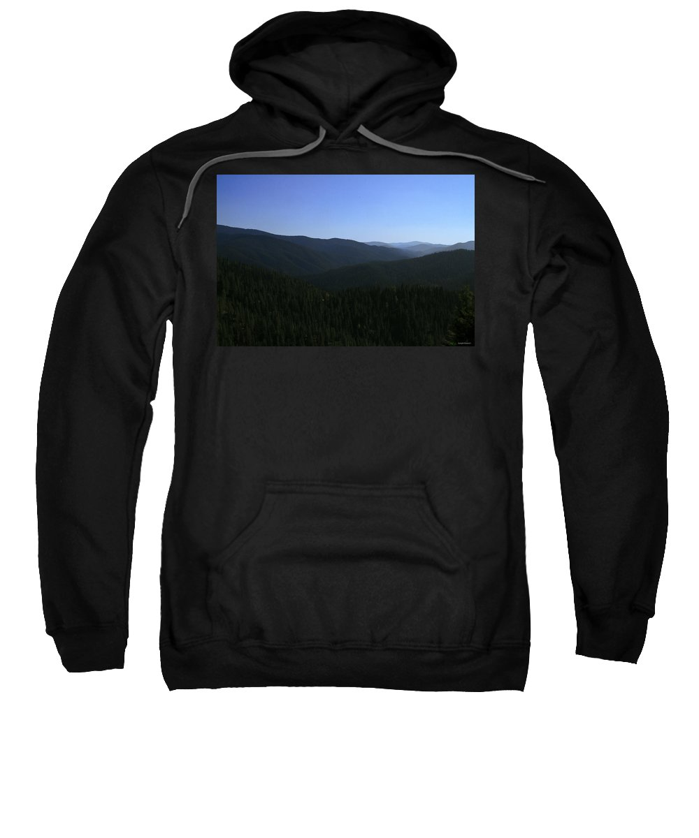 Evergreens Sweatshirt featuring the photograph The Mountains Are Calling by Joseph Noonan
