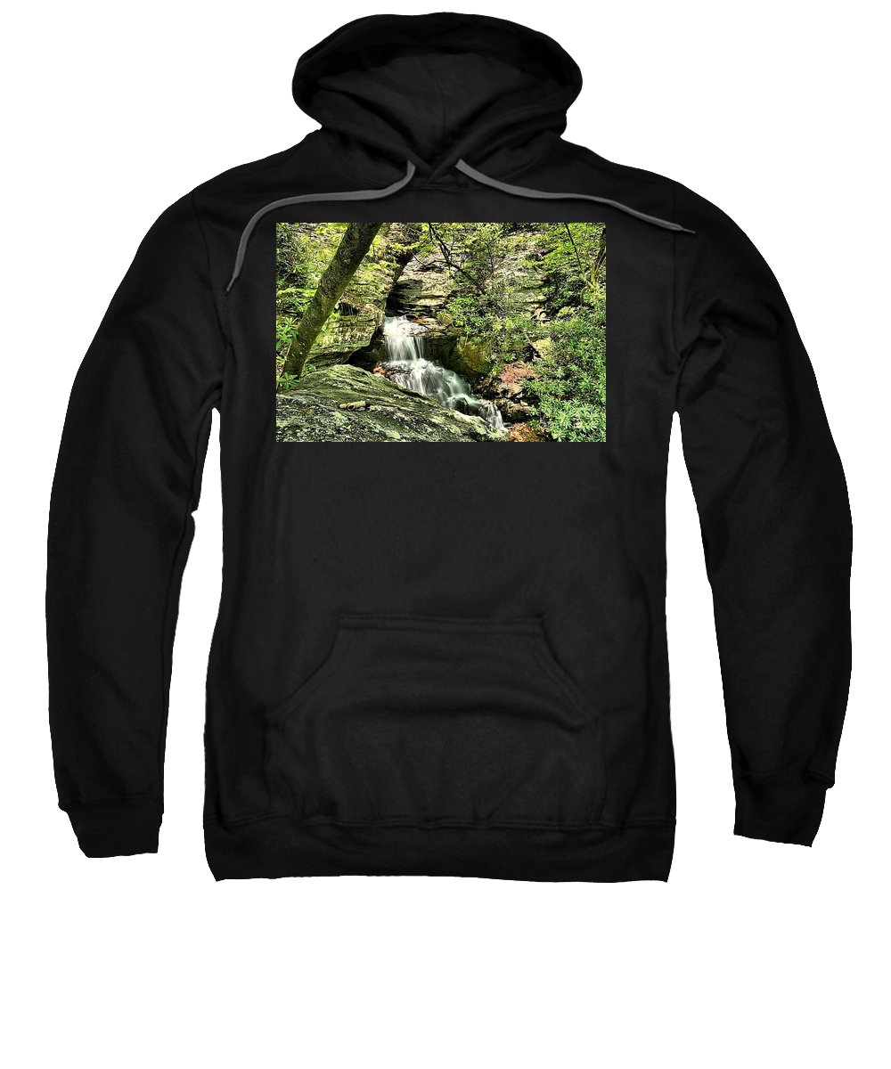 Hanging Rock State Park Sweatshirt featuring the photograph The Mystery Waterfall by Adam Jewell
