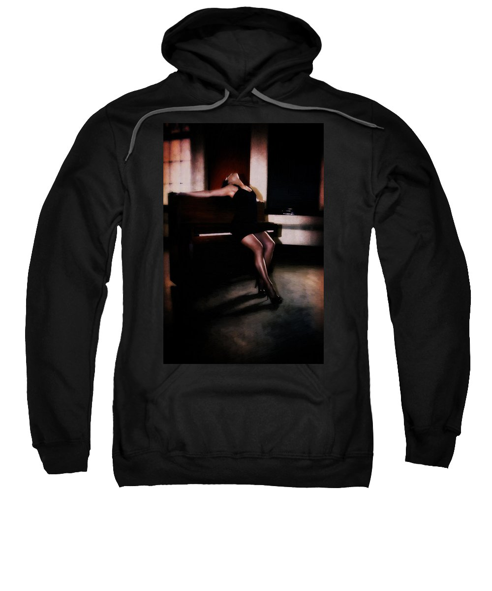 Piano Sweatshirt featuring the digital art The Piano Girl by Diane Dugas