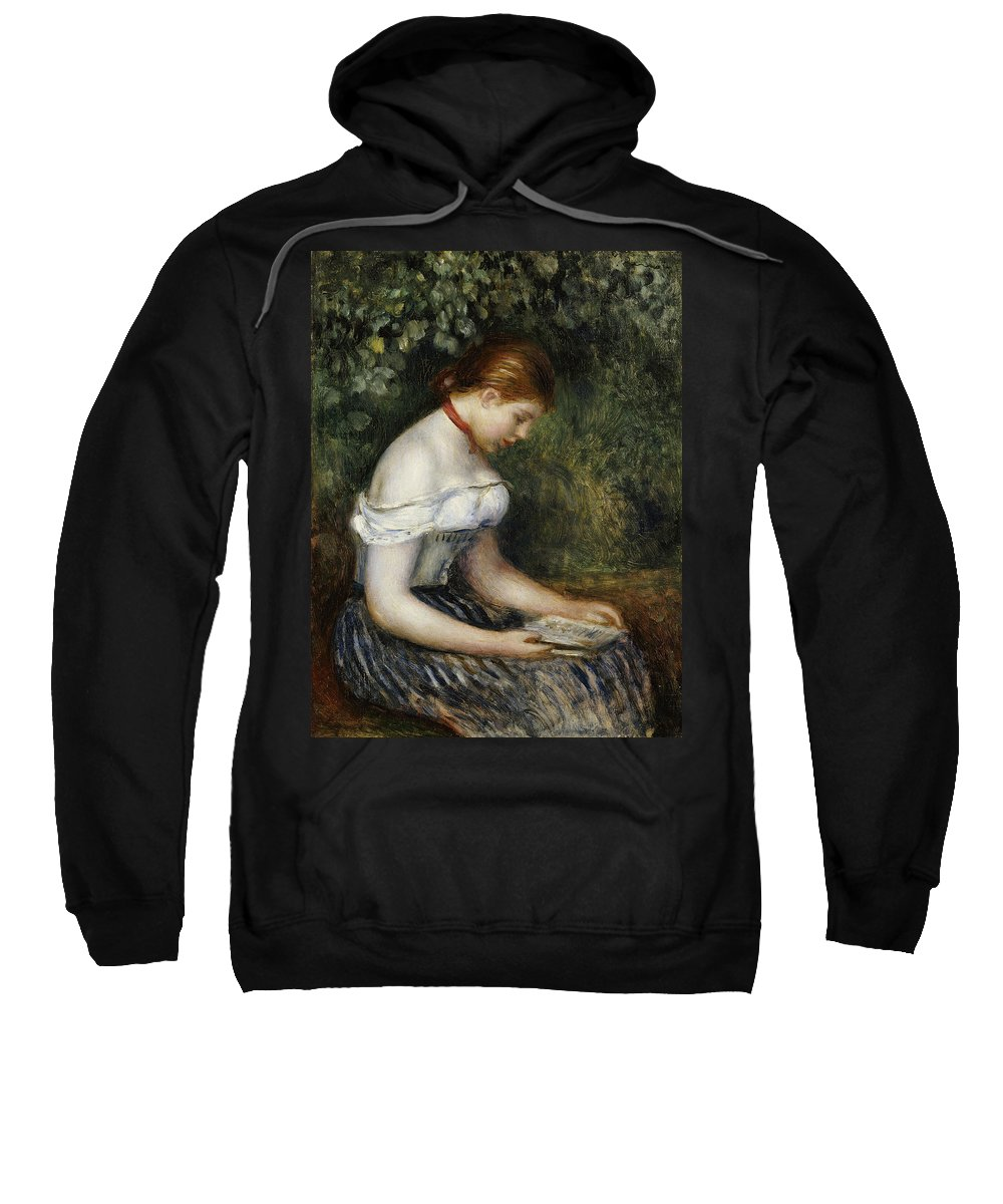 Impressionist; Impressionism; Female; Portrait; Book; Reading; Brown Hair Sweatshirt featuring the painting The Reader A Seated Young Girl by Pierre Auguste Renoir