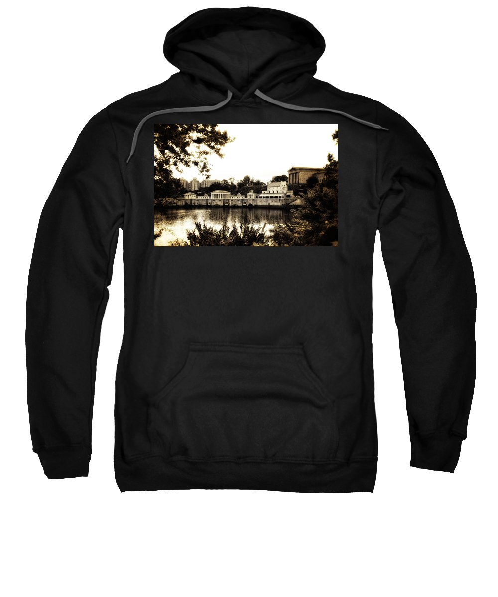 The Waterworks In Sepia Sweatshirt featuring the photograph The Waterworks In Sepia by Bill Cannon