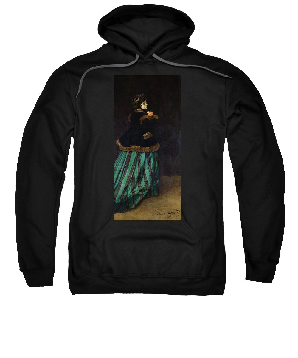 Camille Sweatshirt featuring the painting The Woman In The Green Dress by Claude Monet
