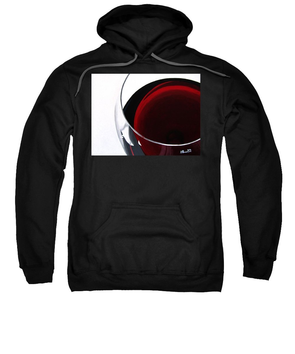 Wine Sweatshirt featuring the painting Thirsty? by Kayleigh Semeniuk