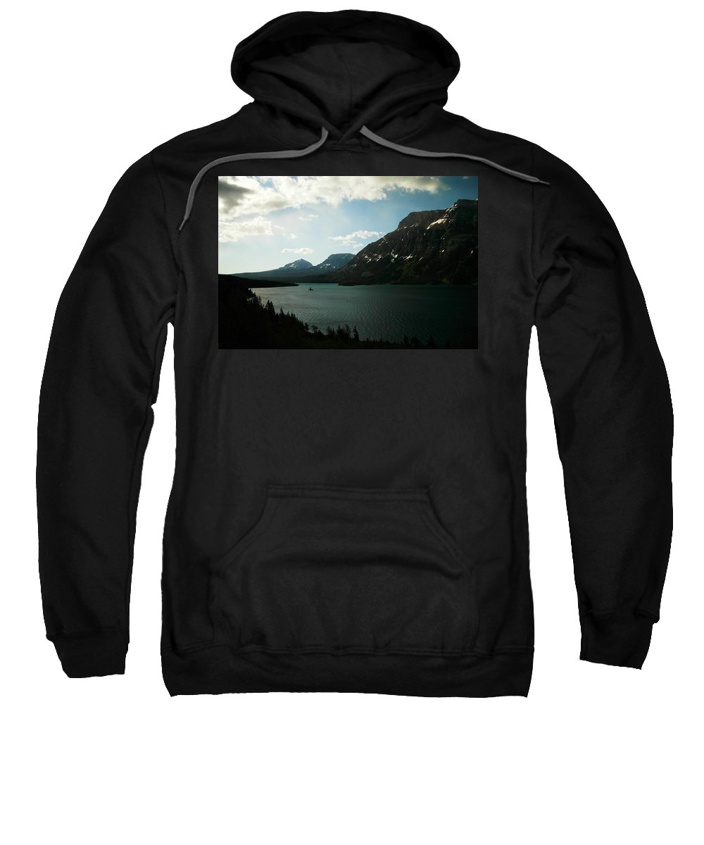 Mountains Sweatshirt featuring the photograph Three Mountains On Many Glacier Lake by Jeff Swan