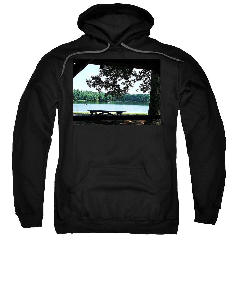 Trap Pond Sweatshirt featuring the photograph Through The Pavilion At Trap Pond State Park Delaware by Pamela Hyde Wilson