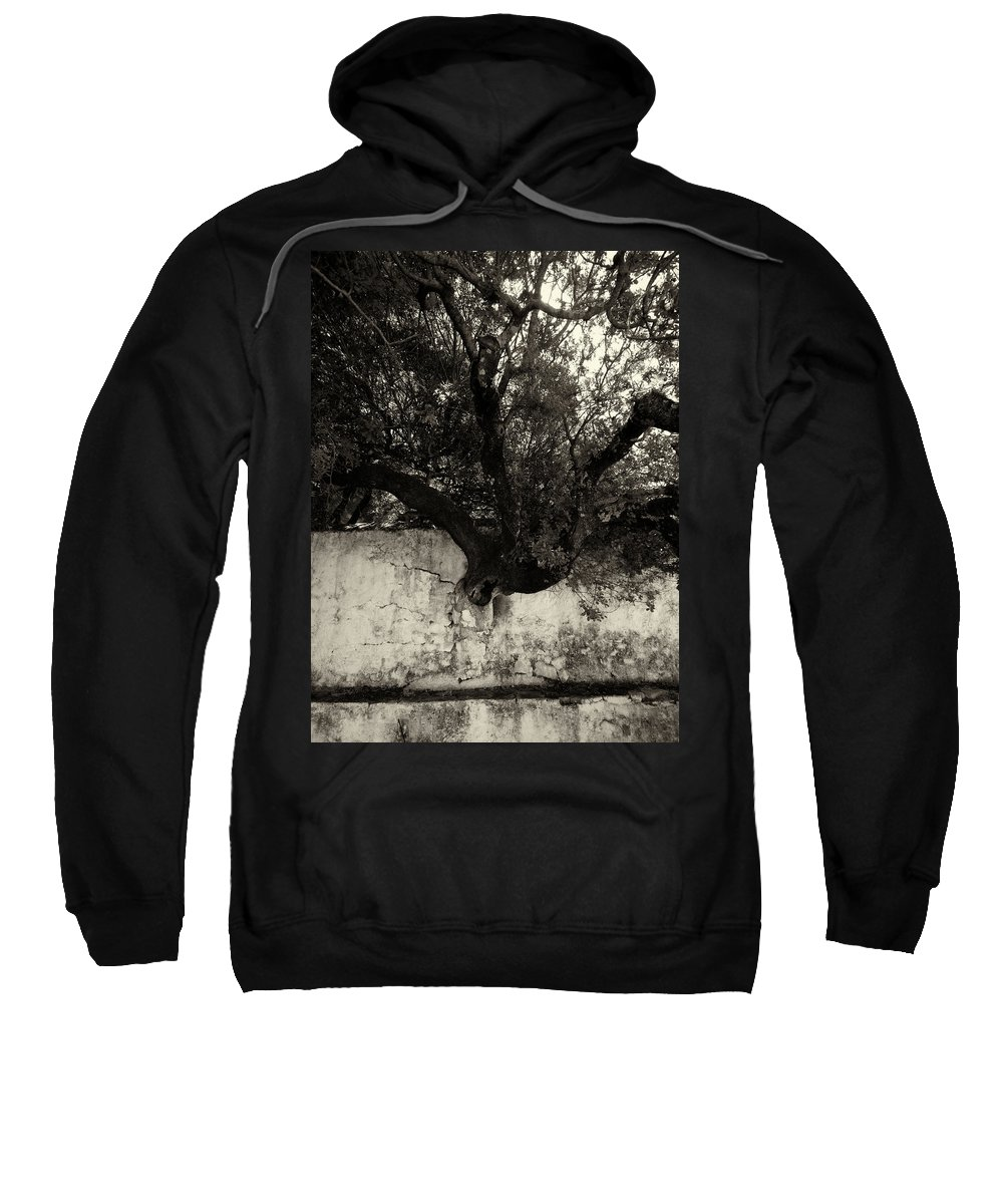 Jouko Lehto Sweatshirt featuring the photograph Through The Wall Bw by Jouko Lehto