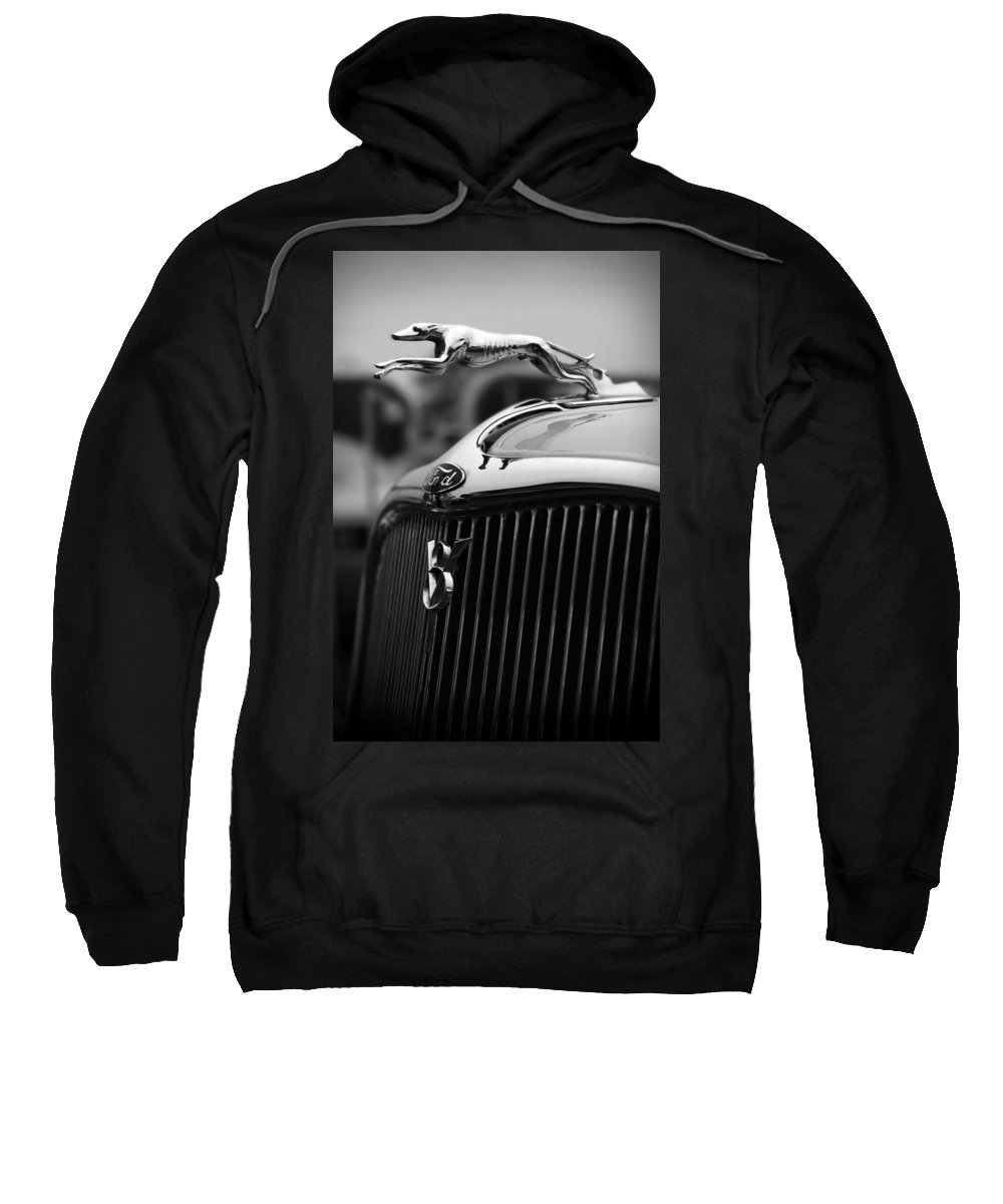 Timmis-ford Sweatshirt featuring the photograph Timmis-ford V8 Greyhound Hood Ornament by Gordon Dean II