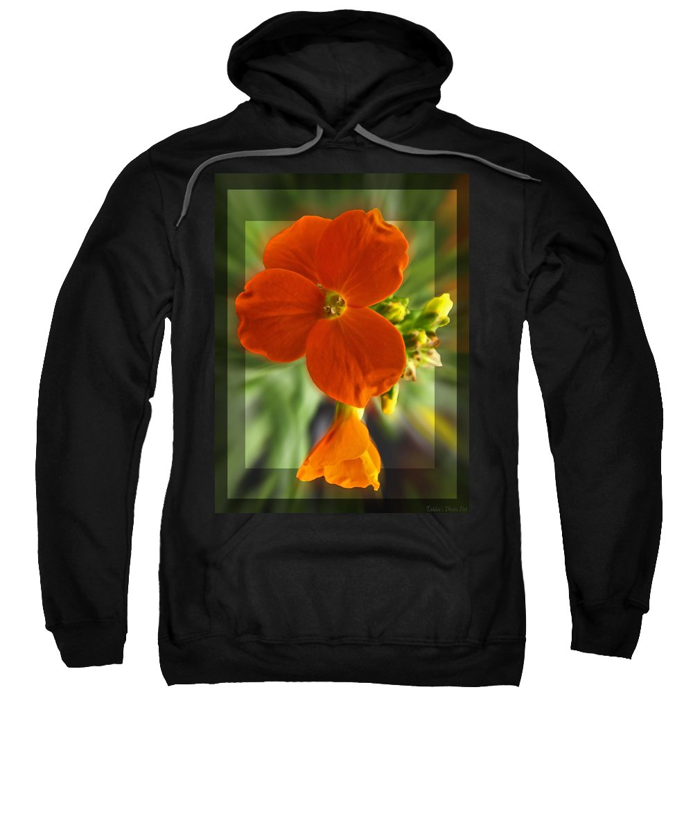 Nature Sweatshirt featuring the photograph Tiny Orange Flower by Debbie Portwood