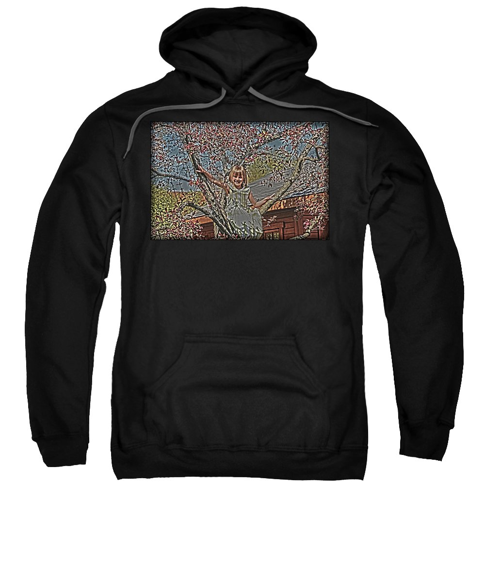 Little Girl In Tree.spring Blossoms Sweatshirt featuring the photograph Tomboy In The Tree by Randall Branham