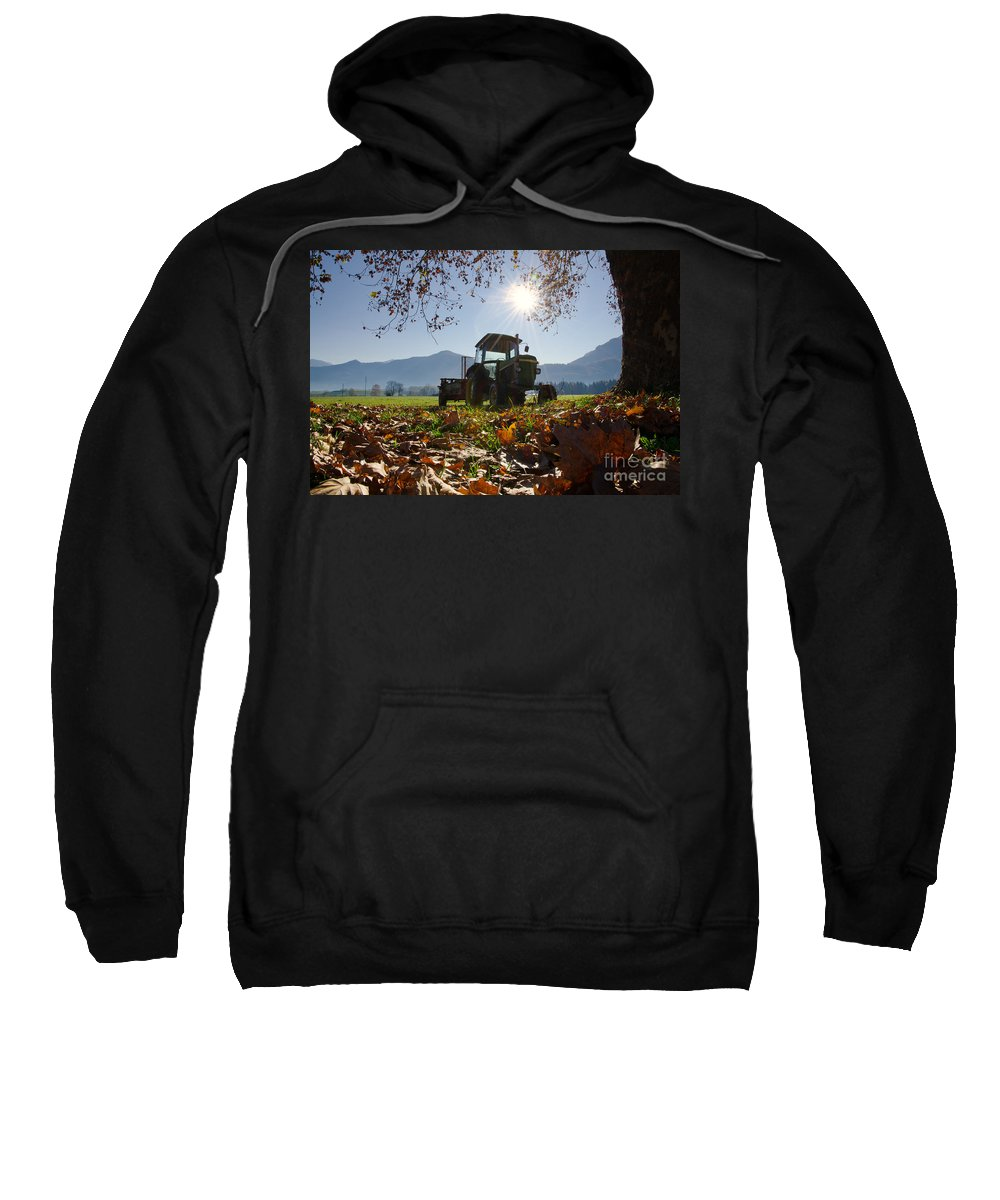 Tractor Sweatshirt featuring the photograph Tractor In Backlight by Mats Silvan