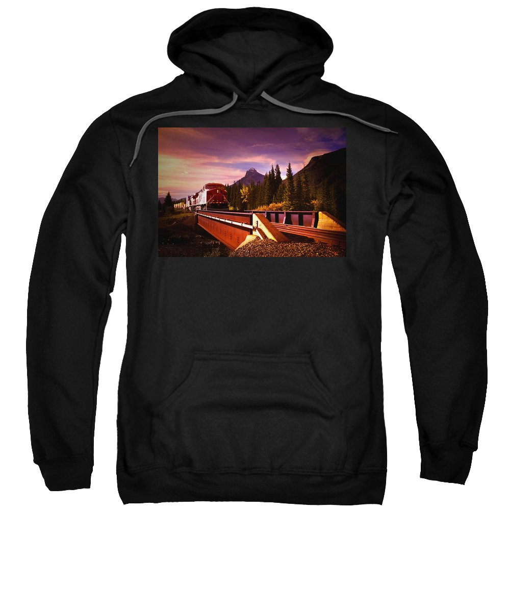Direction Sweatshirt featuring the photograph Train Going Over A Bridge Banff by Darren Greenwood