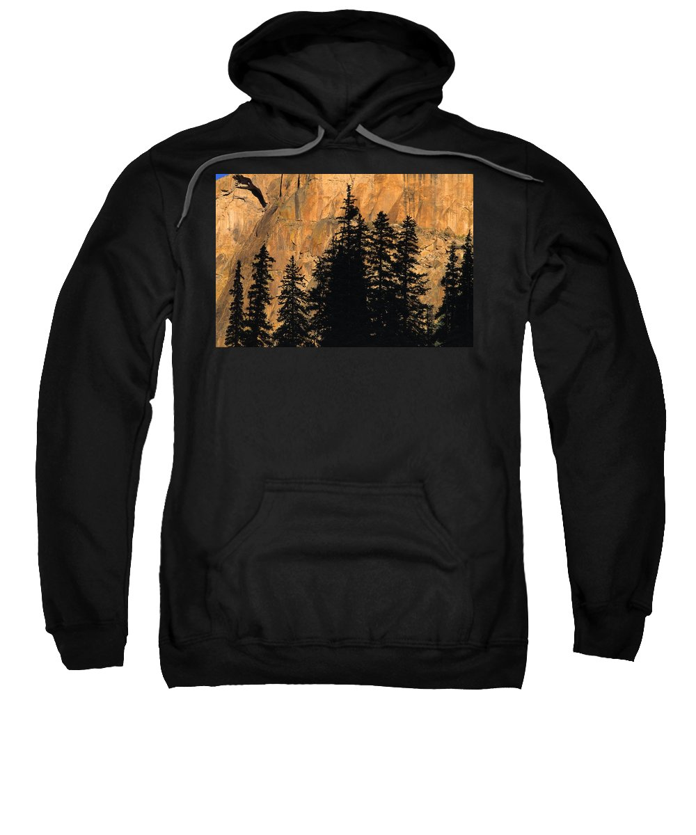 Outdoors Sweatshirt featuring the photograph Tree Silhouettes In Front Of Cliff Face by Natural Selection David Ponton