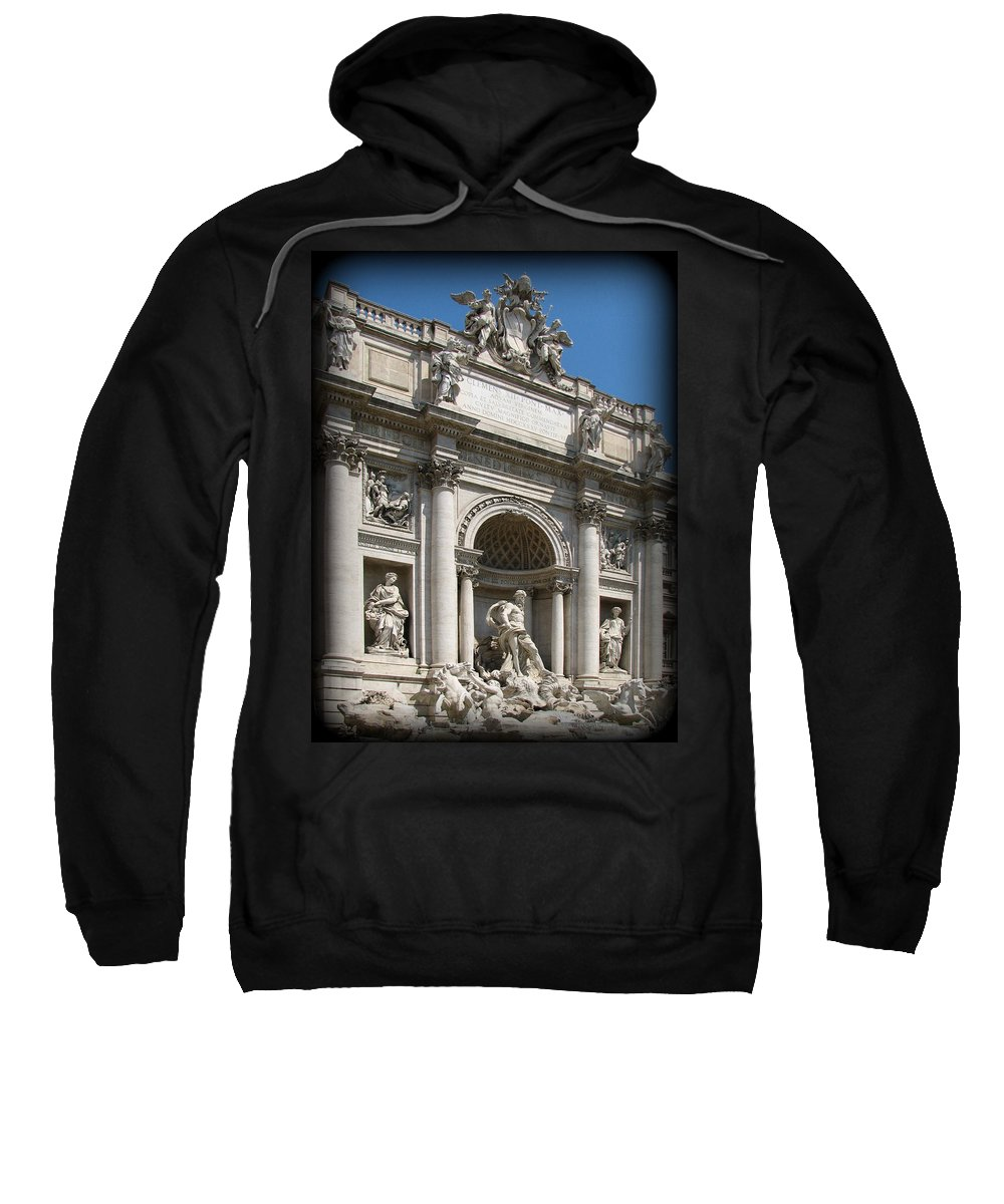 Rome. Italy Sweatshirt featuring the photograph Trevi Fountain by Carla Parris