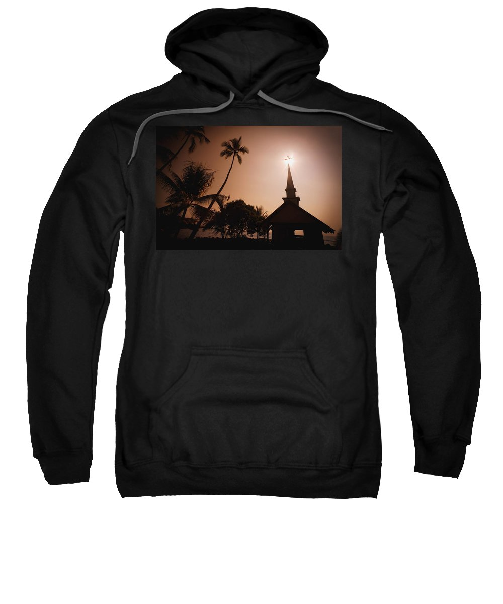 Christianity Sweatshirt featuring the photograph Tropical Church In Silhouette by Darren Greenwood