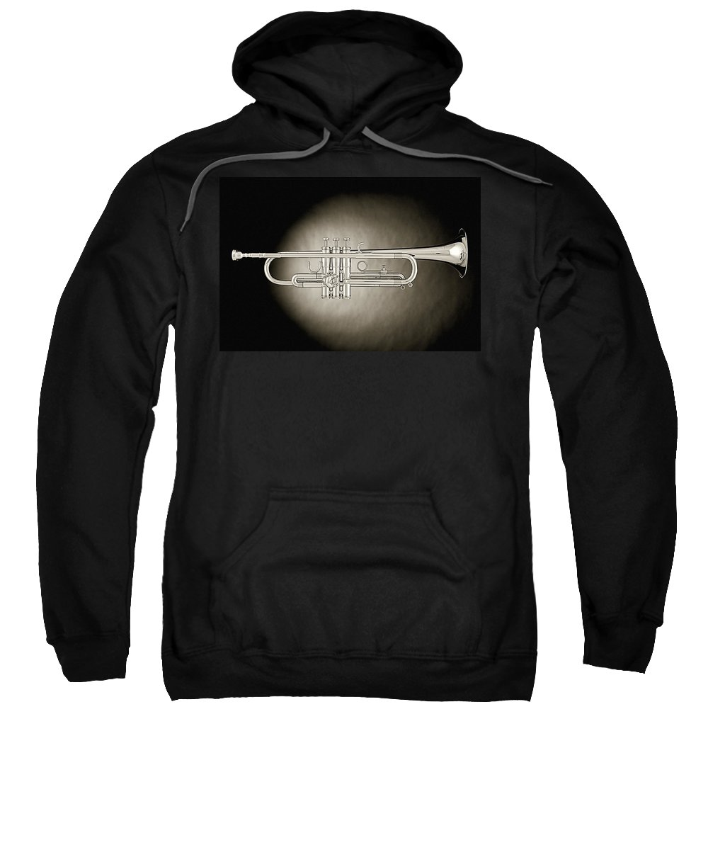 Fine Art Sweatshirt featuring the photograph Trumpet On Spotlight B And W by M K Miller