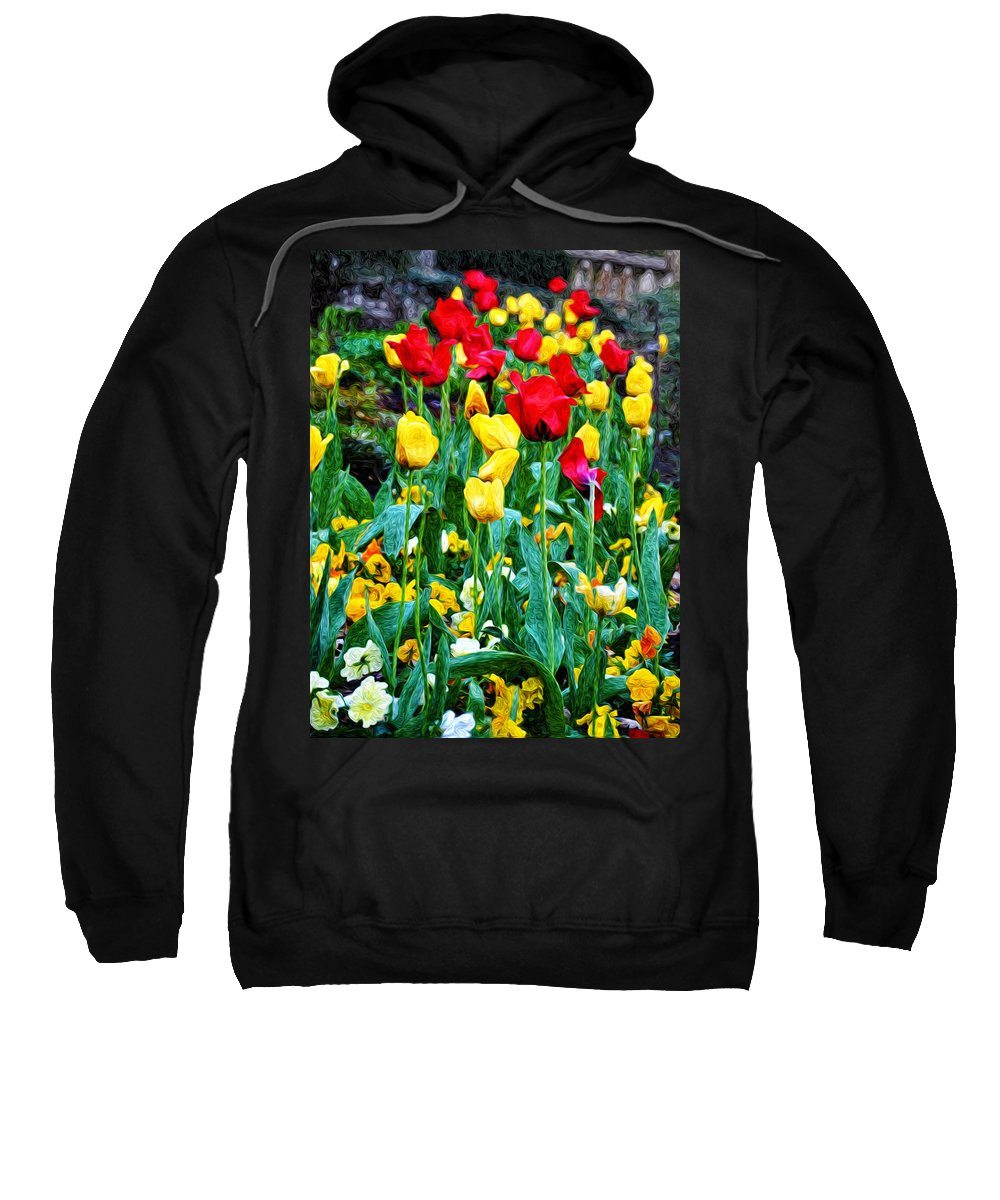 Tulip Garden Sweatshirt featuring the photograph Tulip Garden by Bill Cannon