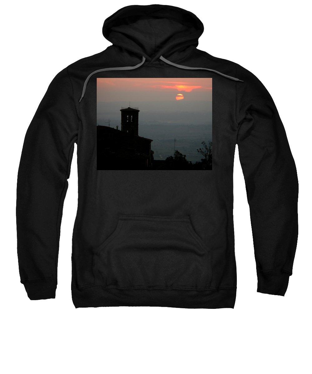 Cortona Sweatshirt featuring the photograph Tuscan Sunset Over Cortona Italy by Greg Matchick