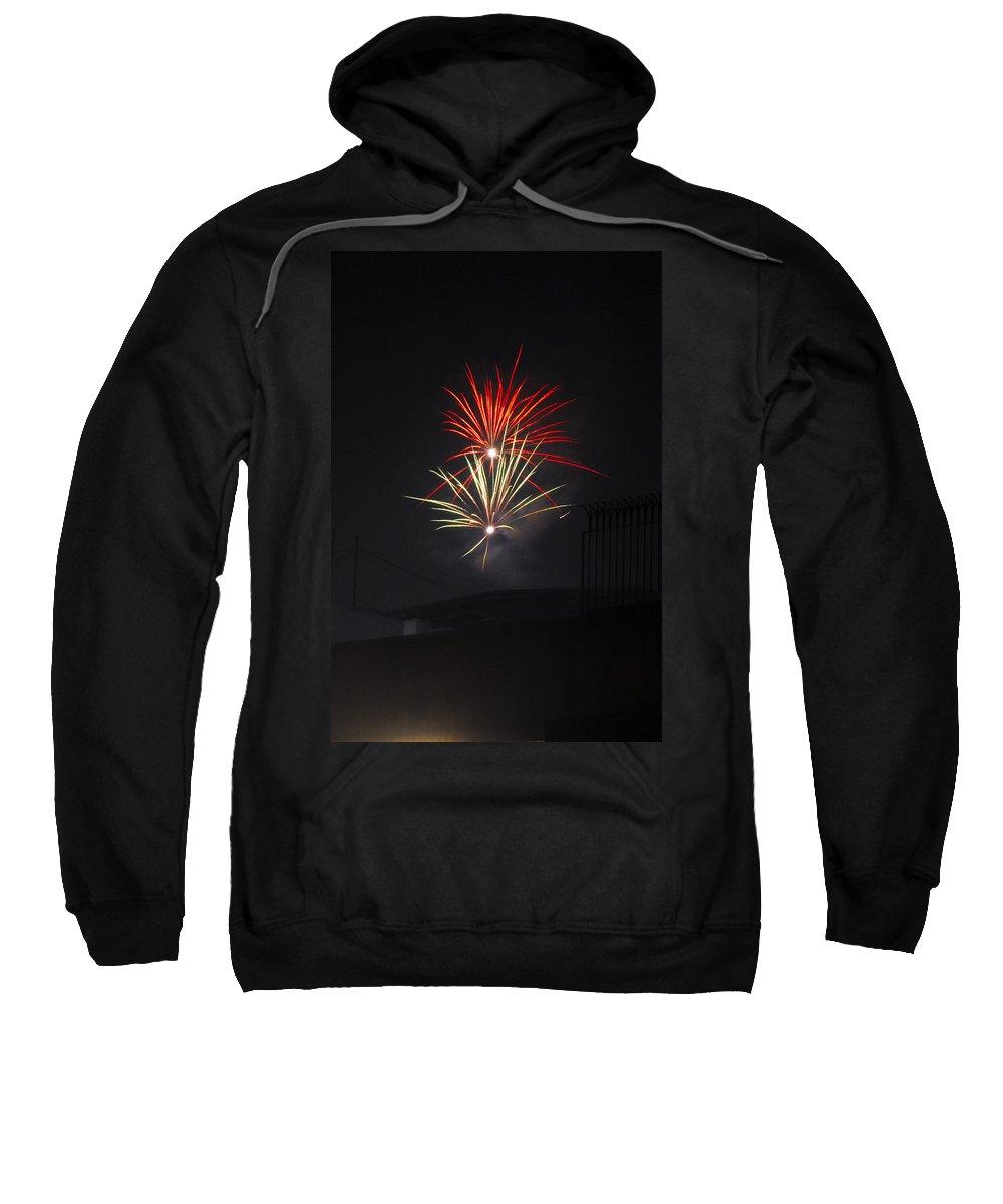 Aerials Sweatshirt featuring the painting Twin Fireworks by Sumit Mehndiratta