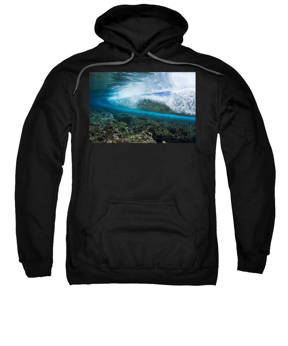 Blue Sweatshirt featuring the photograph Underwater Wave by Dave Fleetham