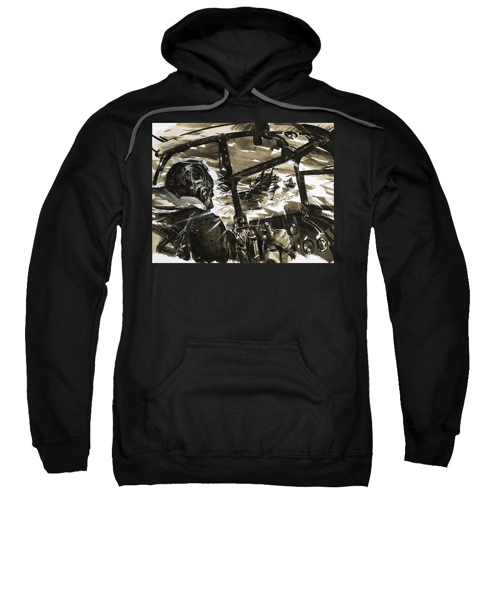 Aeroplane; Plane; Aircraft; Flying; World War Ii; Second World War; Dive; Attack; Ship Sweatshirt featuring the painting Unidentified Aircraft Diving To Attack A Ship by English School
