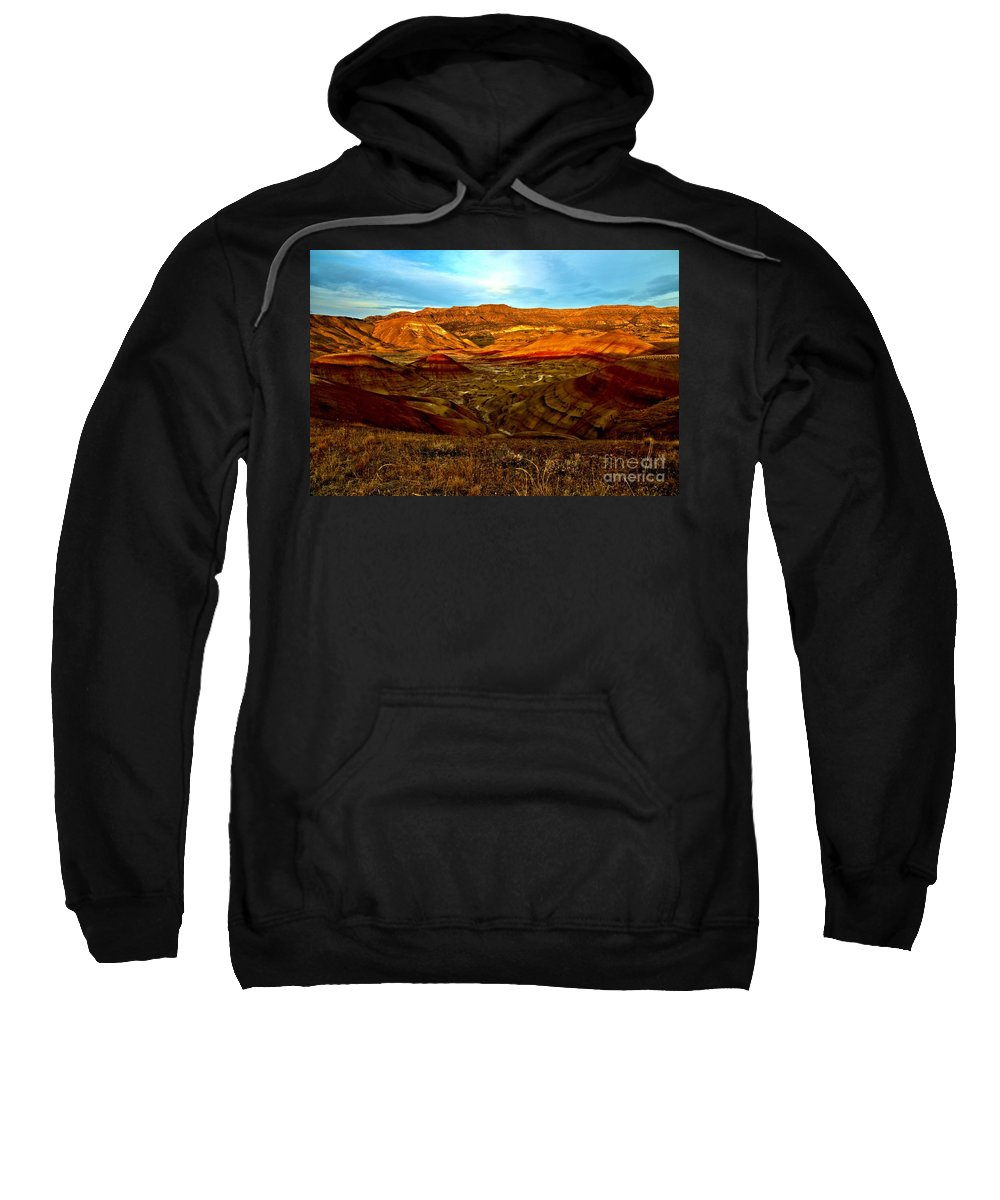 John Day Fossil Beds Sweatshirt featuring the photograph Vibrant Hills by Adam Jewell