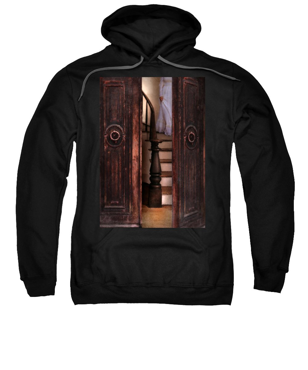 Woman Sweatshirt featuring the photograph Victorian Lady Descending Stairs by Jill Battaglia