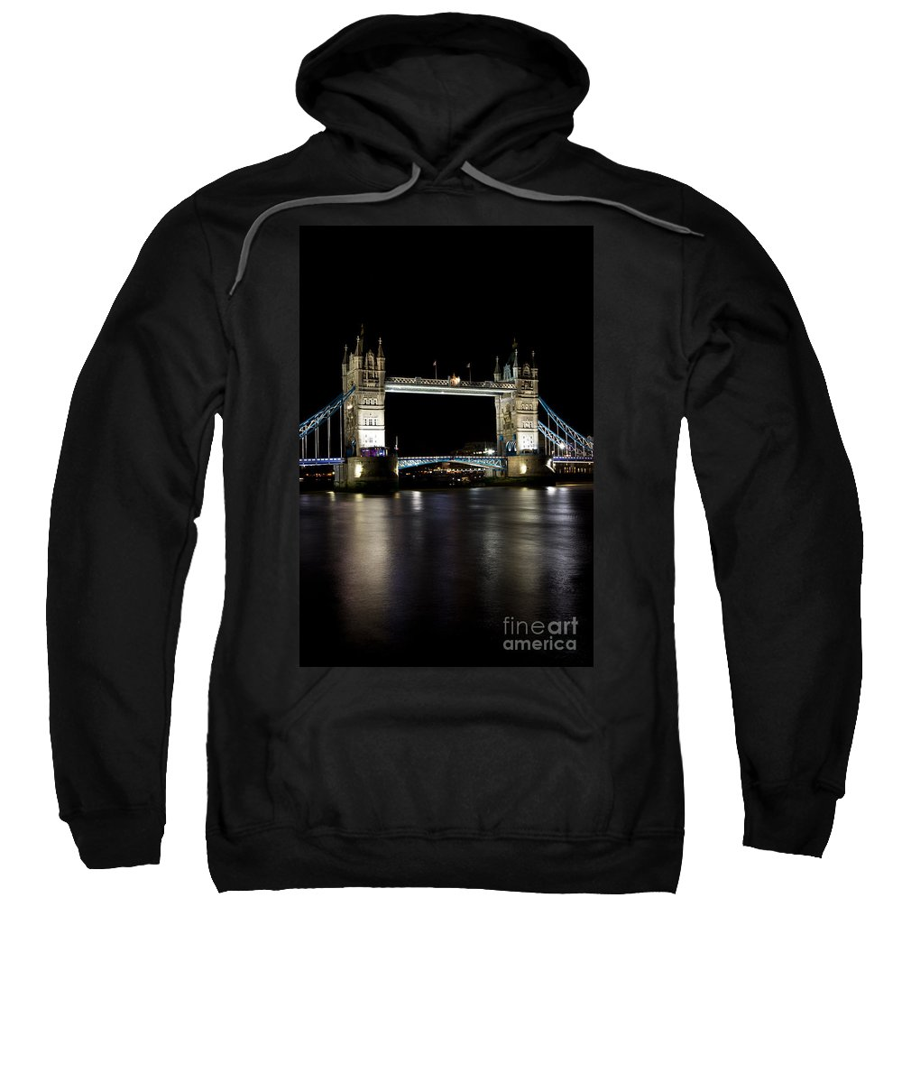 Thames Sweatshirt featuring the photograph View Of The River Thames And Tower Bridge At Night by David Pyatt