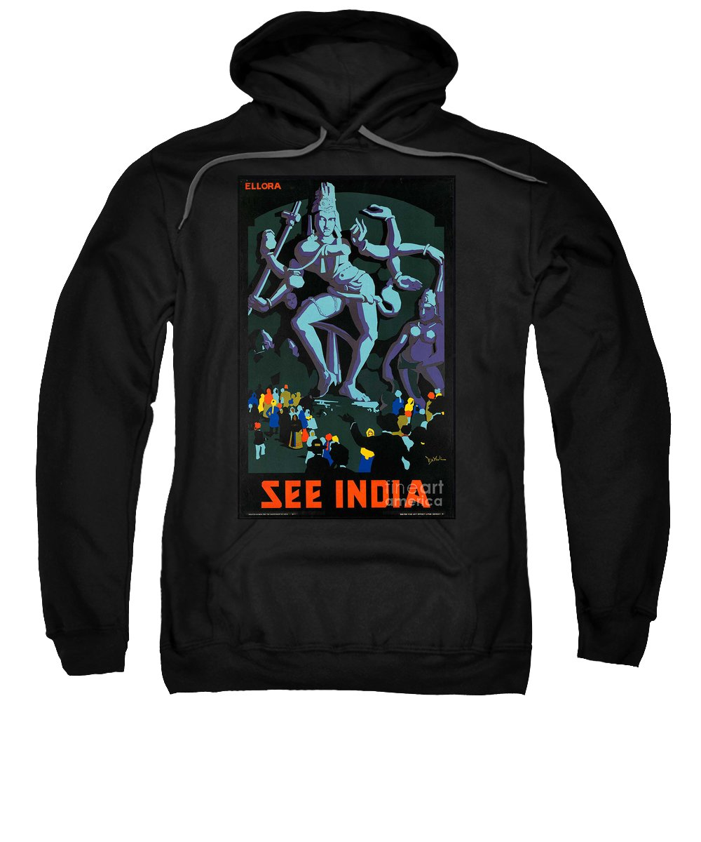 India Sweatshirt featuring the photograph Vintage See India Travel Poster by George Pedro