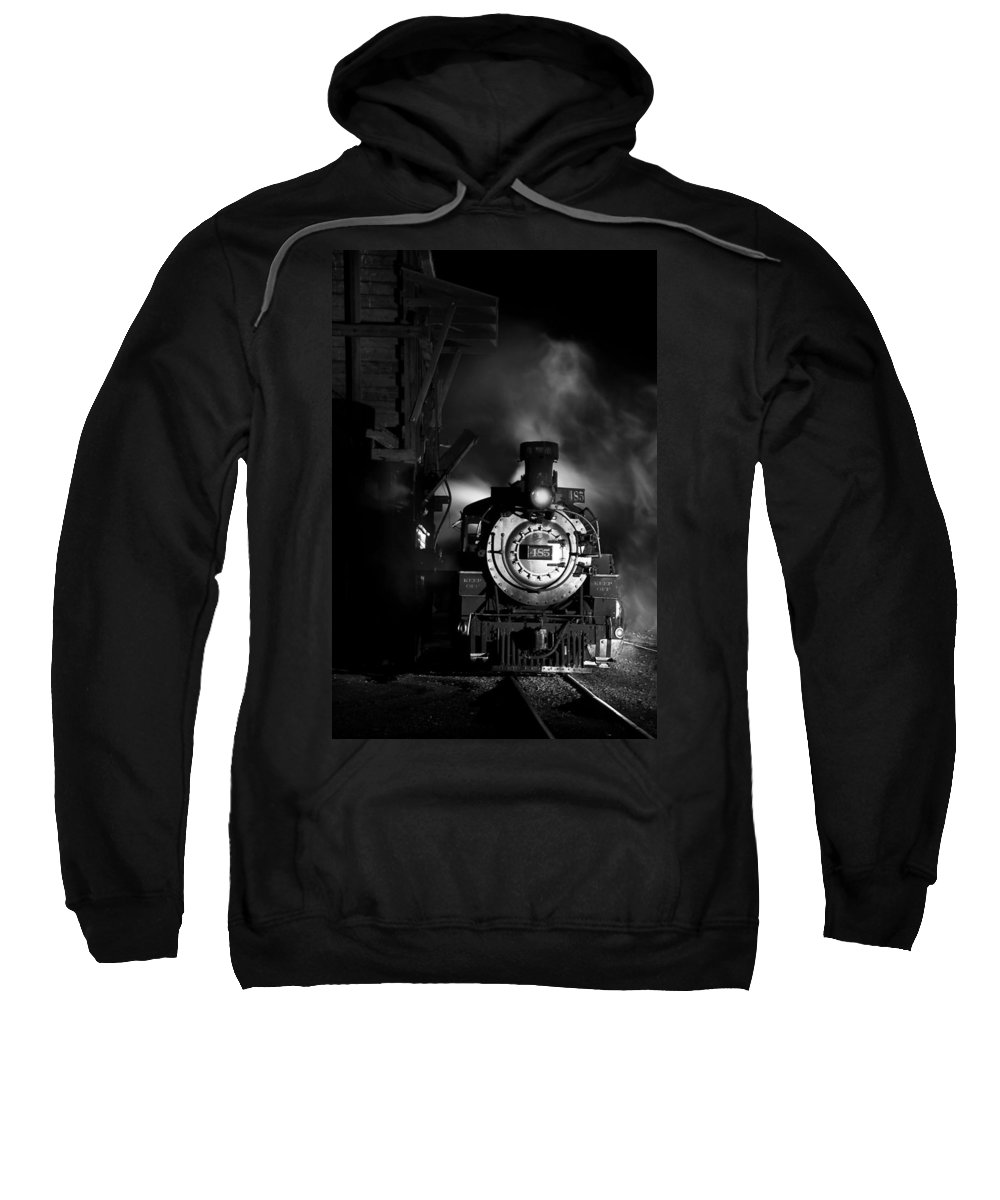 Steam Train Photographs Sweatshirt featuring the photograph Waiting For More Coal Black And White by Ken Smith