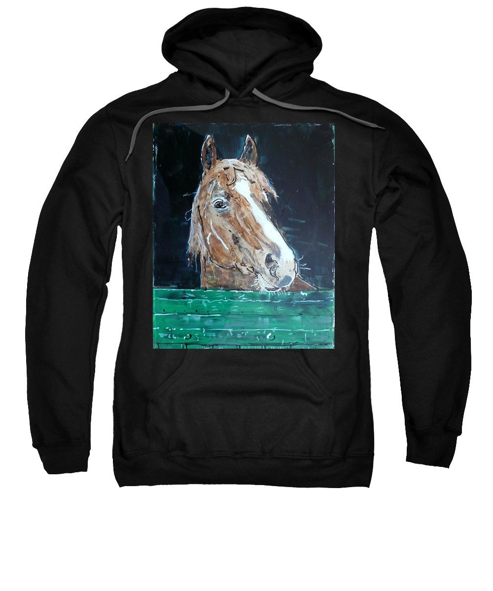 Horse Sweatshirt featuring the painting Waiting - Horse Portrait by Anna Ruzsan