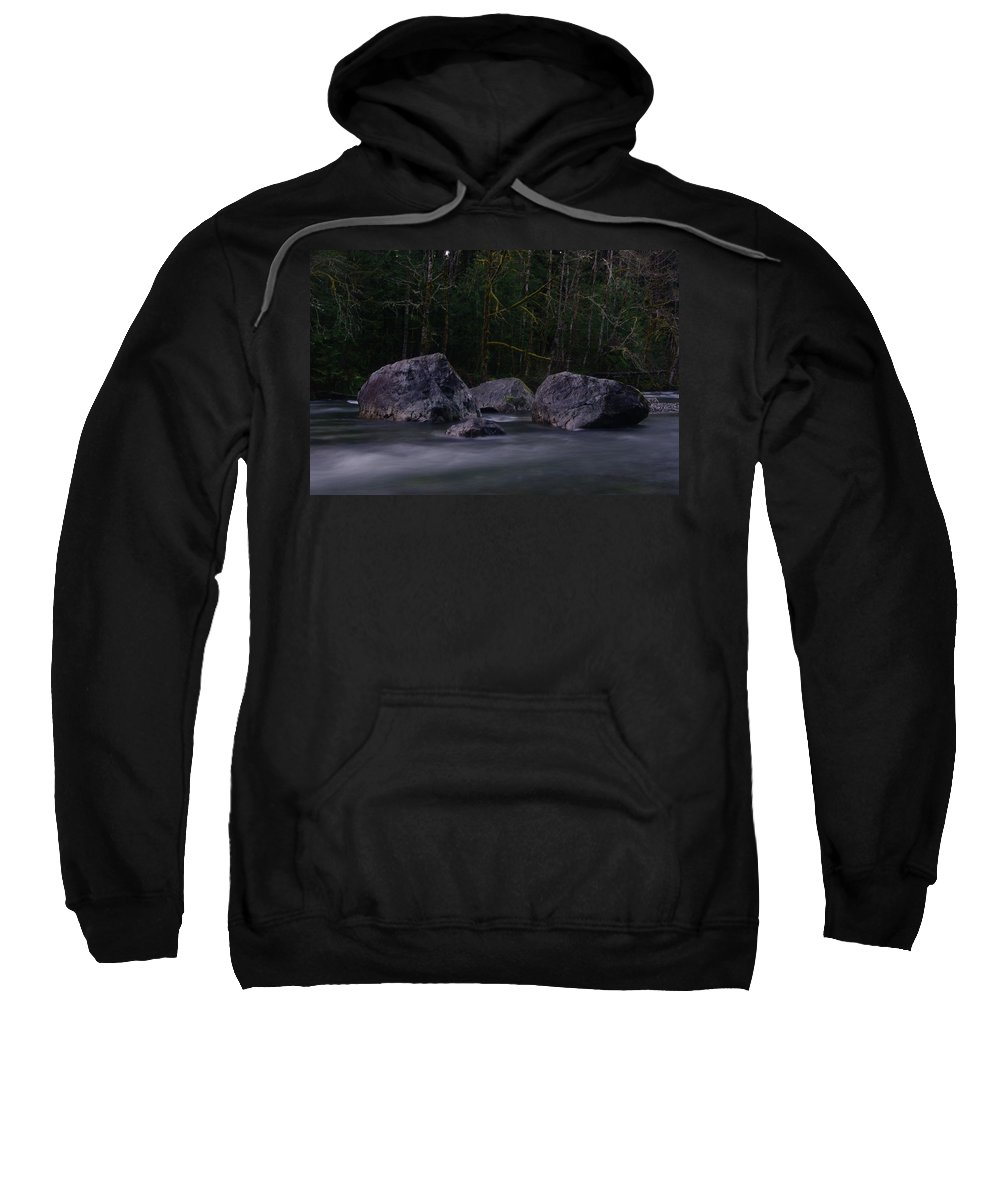 Rocks Sweatshirt featuring the photograph Water Moving Around Rock by Jeff Swan