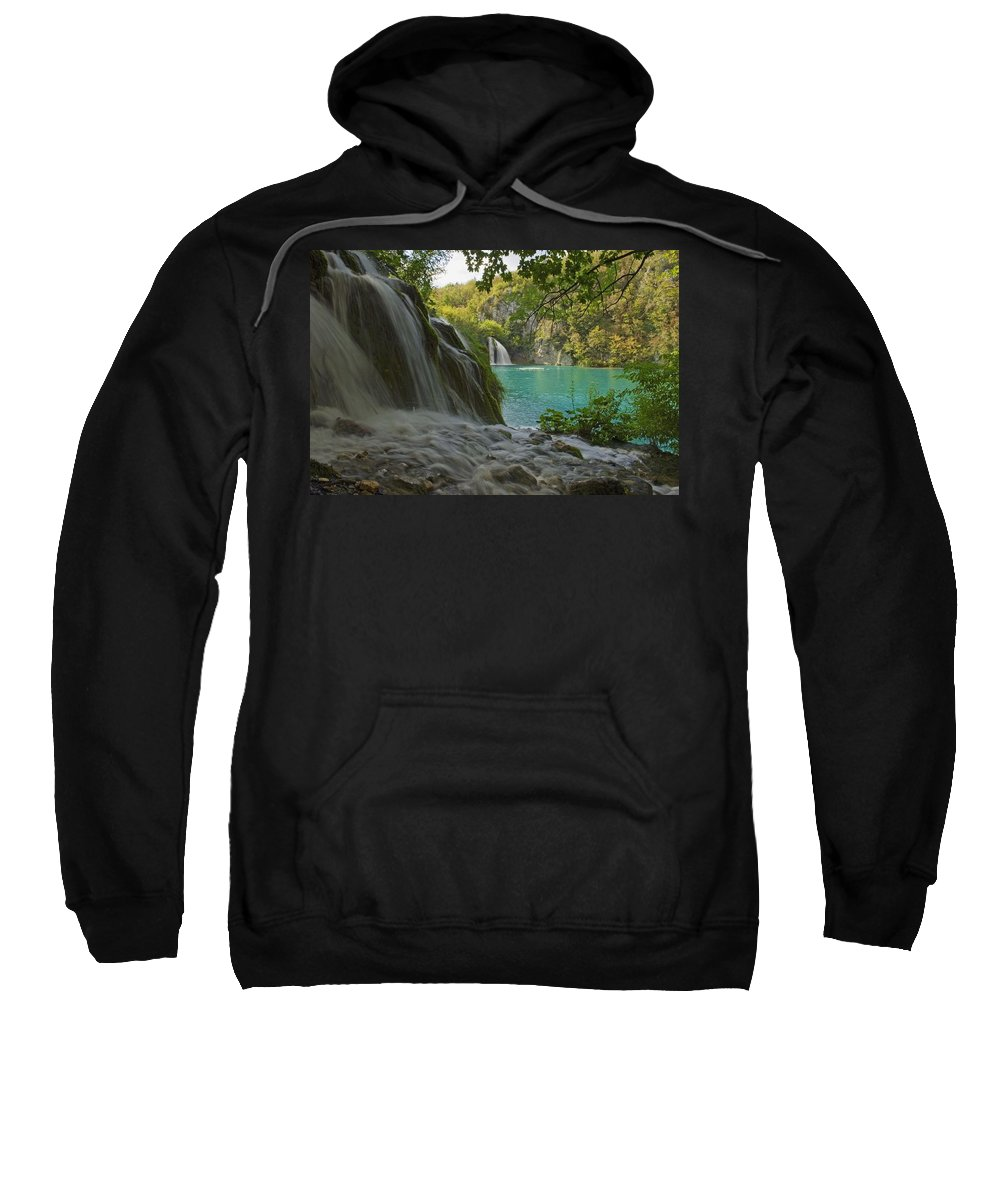Color Image Sweatshirt featuring the photograph Waterfall At Plitvice National Park In by Axiom Photographic