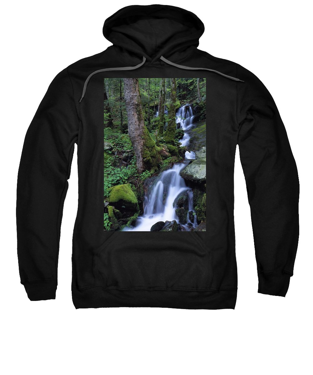 Outdoors Sweatshirt featuring the photograph Waterfall Pouring Down Mountainside by Natural Selection Robert Cable