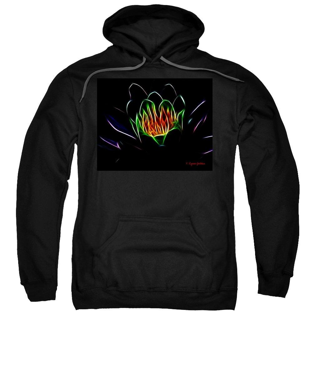 Water Sweatshirt featuring the digital art Waterlily Fractal by Lynne Jenkins